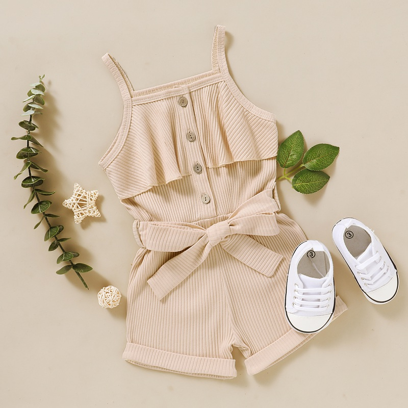 Summer Cute Girls Clothes Set 0-5Y  Sleeveless Sling Jumpsuit  Cotton Fashion Solid Color Single-Breasted One Piece  Shorts