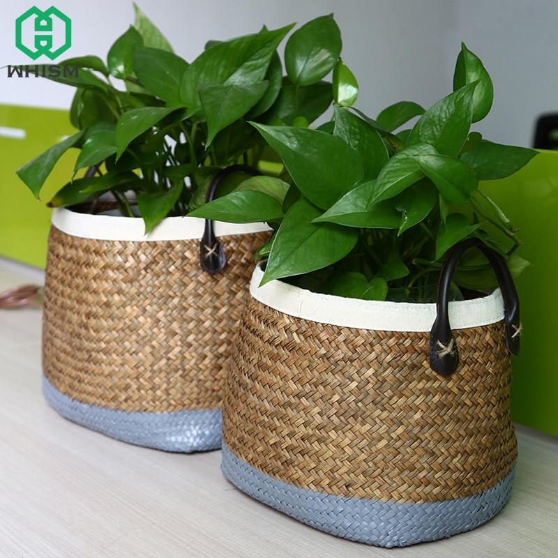 1Pc Storage Basket with Handle Natural Seagrass Laundry Straw Patchwork Wicker Rattan Garden Flowerpot Planter Hamper Basket
