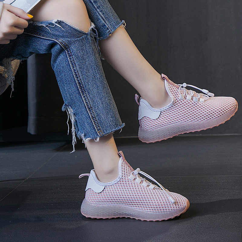 Hızlı kargo rahat kadın ayakkabısı Moda Nefes Dantel-up Yürüyüş Sneakers 2019 tenis feminino Sepetleri Chaussures Femme