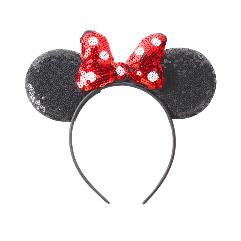 Disney Headband Girls Ears Hairband 2019 New Summer Kids Women Sequin Bow Headdress Minnie Headbands DIY Ears Hair-Accessories