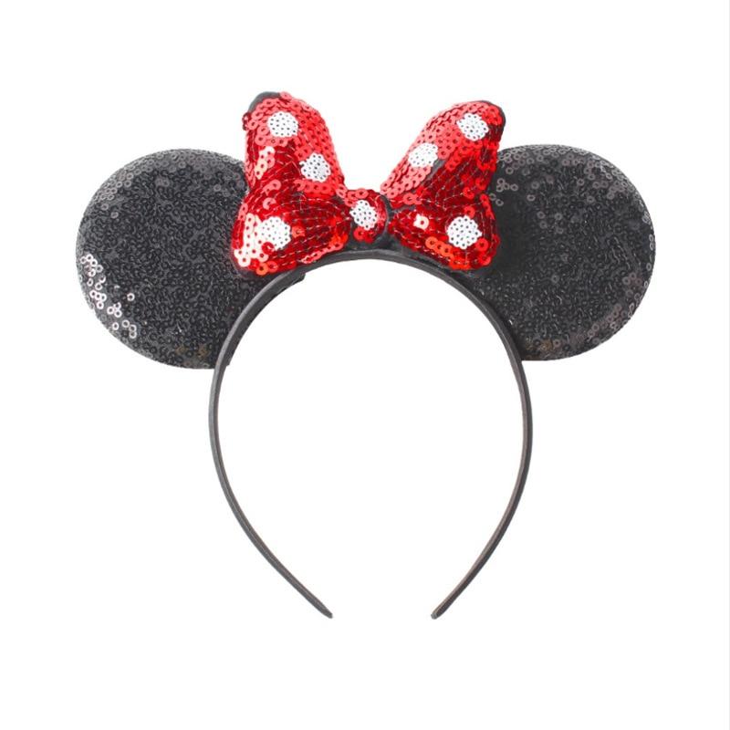Disney Headband Girls Ears Hairband 2019 New Summer Kids Women Sequin Bow Headdress Minnie Headbands DIY Ears Hair-Accessories
