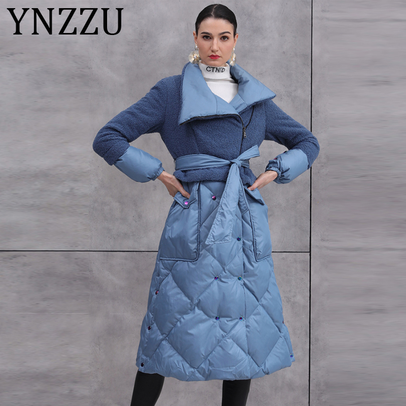 YNZZU 2019 New Winter Collection Elegant Women's Down Jacket Long Blue Lamb Fur Patchwork Female Slim White Duck Down Coat A1397