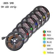 Tira de luz de led rgb, 5m, 300leds, não resistente à água, 3528 dc12v, lâmpada de fita, lâmpada de decoração para casa tira, tira