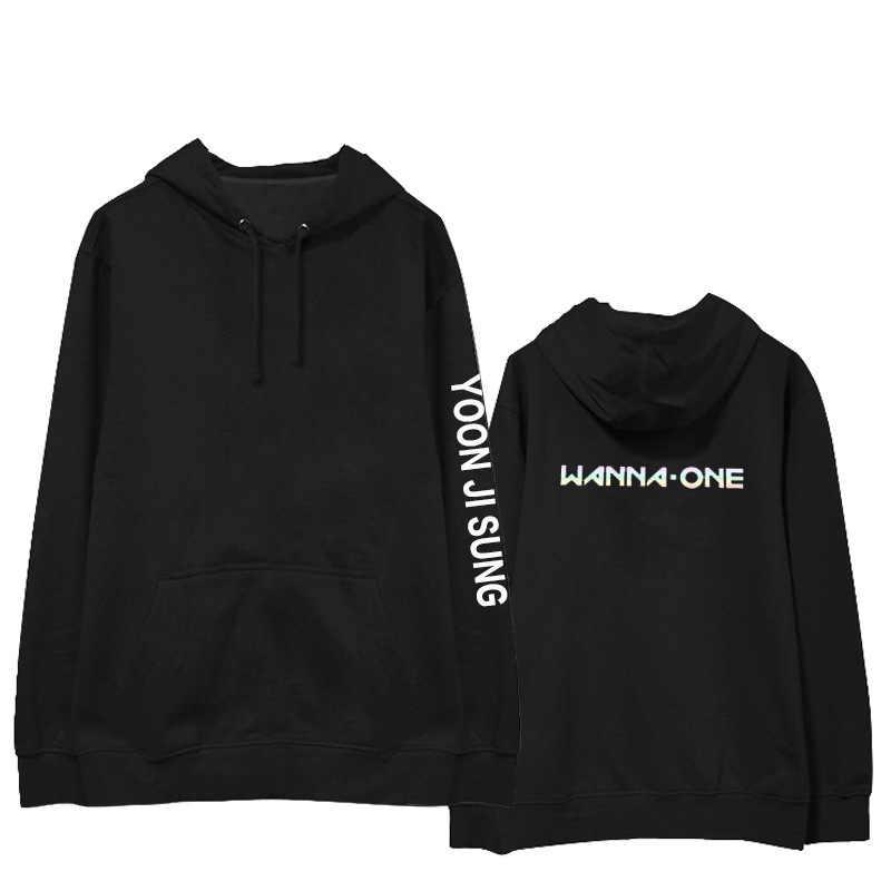 Wanna one bluza z kapturem Park Chi trening w stylu celebrytek powinien pomóc z kapturem mężczyzn i kobiet wiosną i jesienią oraz aksamitny pulower z kapturem