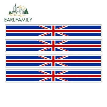EARLFAMILY 4pcs Car Stripe England Flag Sticker Vinyl Decal Bike Moto British United Kingdom UK Car Stickers