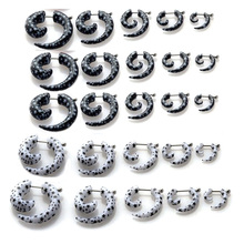 10pcs Acrylic Star Pattern Fake Cheater Stretcher Twist Spiral Gauges Expanders Earring Ear Tunnel Plugs Piercing Body Jewelry 2pc white black stainless steel cheater faux fake ear plugs flesh tunnel gauges tapers stretcher earring