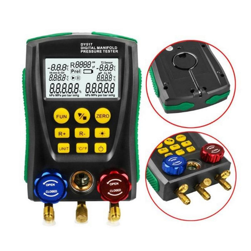 Tools : DY517 Pressure Gauge Refrigeration Digital Vacuum Pressure Manifold Meter Tester Tester Dropshipping