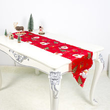 Christmas Table Runner Mat Tablecloth Flag Home Party Decorative Santa Claus Tapestry Table Runners(China)