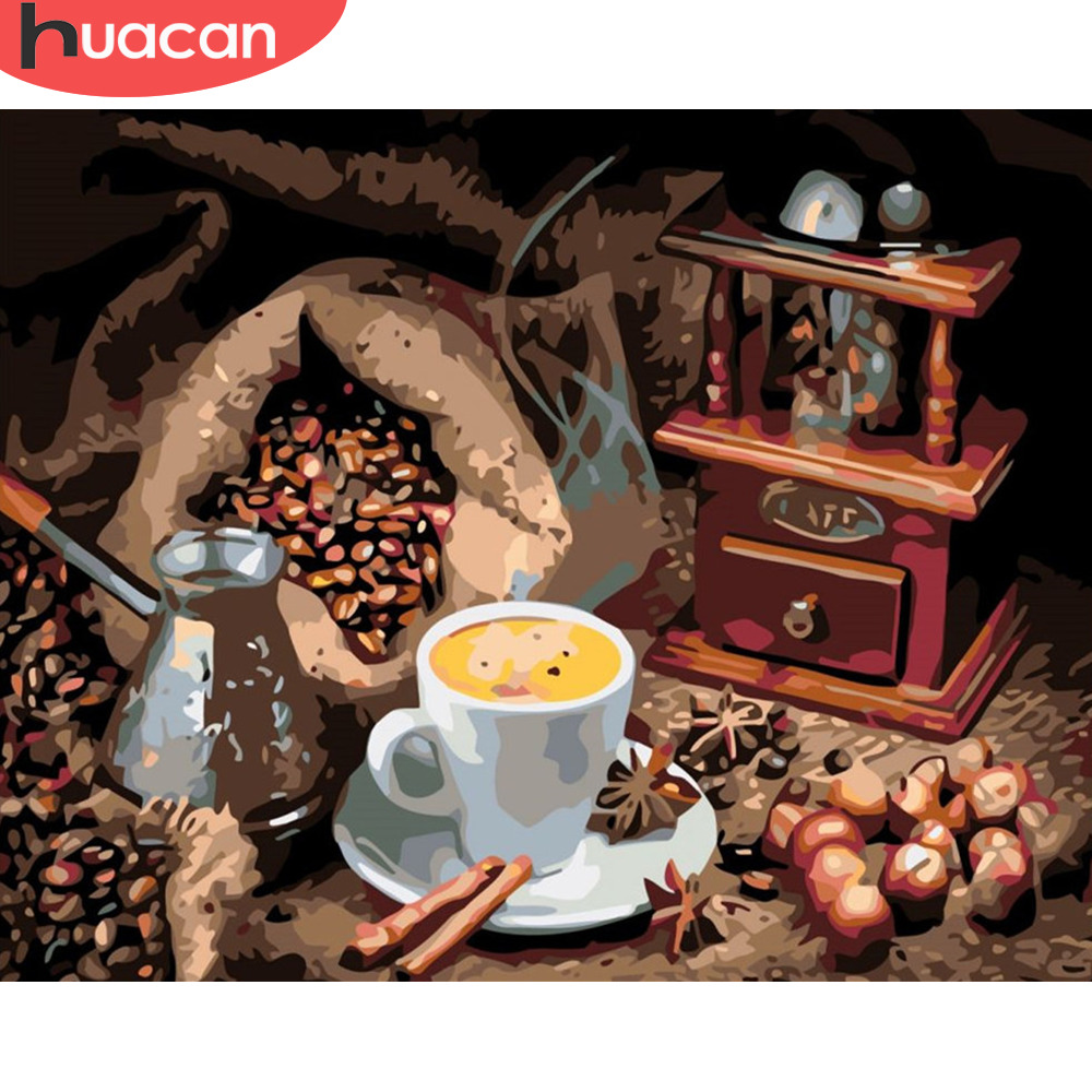 HUACAN Oil Painting By Numbers Coffee Cup Kits Drawing Canvas HandPainted DIY Pictures Still Life Art Home Decor