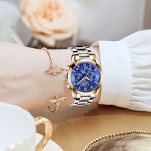 Женские часы с бриллиантами lige розовое золото синий цвет женские