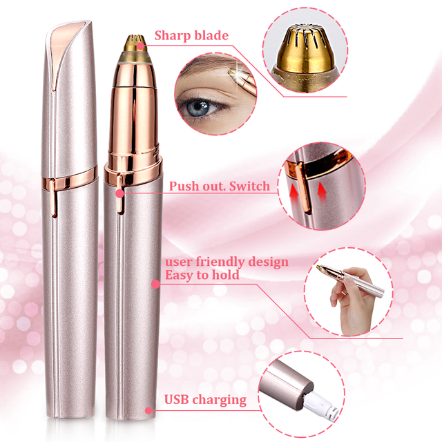 Electric Eyebrow Trimmer Makeup Painless Eye Brow Epilator Portable Facial Hair Remover Mini Eye Brow Shaver