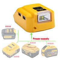 Adaptador de Lámpara de trabajo de luz LED, Cargador USB de teléfono móvil, salida DC 12V para Dewolt 14,4 V 18V, batería de iones de litio DCB140 DCB183 DCB203