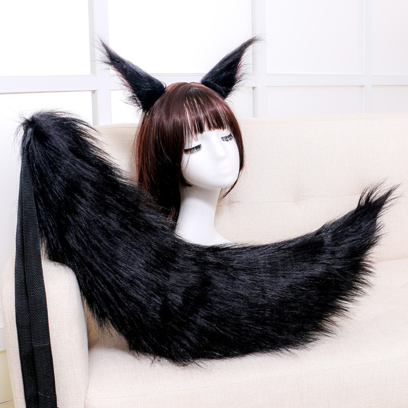 Anime Fox Ear /& Tail Plush Cosplay Party Prop Halloween Costume Props Black