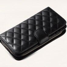 lambskin zipper plaid long purse card holder women wallet hi