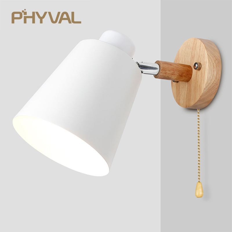 Wall Lamps With Switch Bedside Wall Light Modern Wall Sconce Nordic For Bedroom Macaroon 6 Color Steering Head E27 85-285V 1