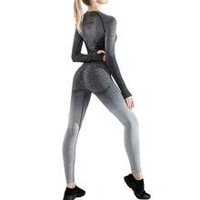 2021 New Arrival Seamless Butt Lifting ombre Yoga Set Fitness Workout High Waist Leggings Long Sleeve Crop Top Women