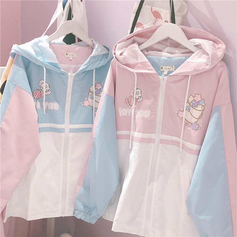 Harajuku Mori Girl Patchwork Loose Cartoon Printed Zipper Jacket Soft Sister Autumn Students Japanese Women's Hooded Short Coat
