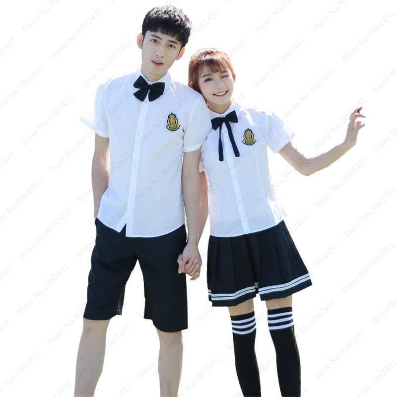 Uniforme da escola secundária japonesa vestido da marinha menina da faculdade de grau superior estudante anime cosplay traje topos calça saia gravata roupas conjunto