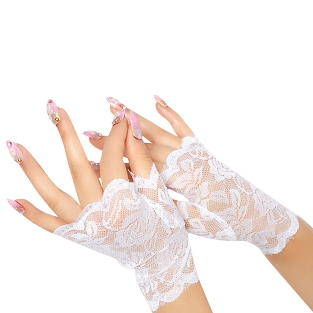 Elegant Style Sun Protection Accessories Lace Hollow-Out Gloves Delicate Lace Jacquard Pattern Lace Gloves #YL5
