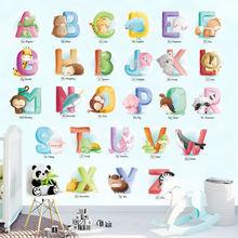 Наклейки на стену с мультяшными животными и английскими буквами
