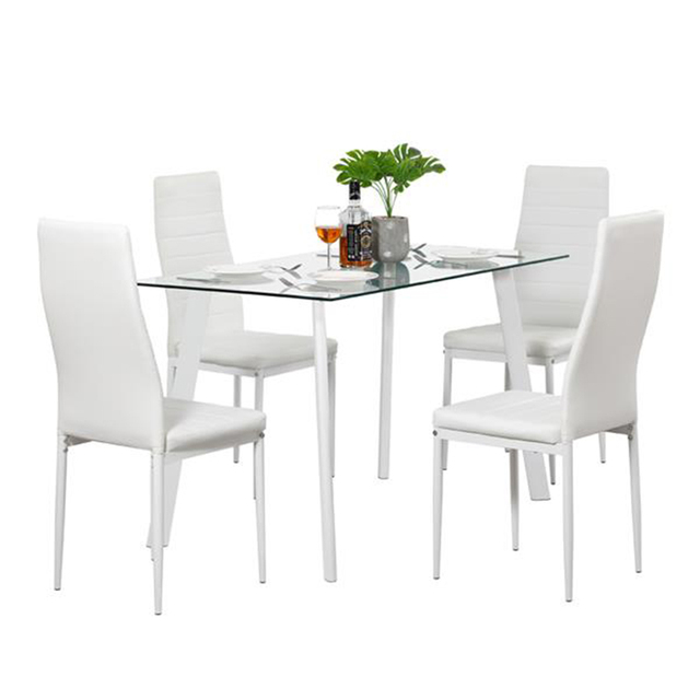 White Glass Dining Table Set w/ 4 Chairs  1