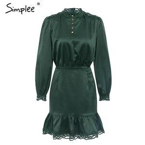 Image 5 - Simplee женскoе платье с кружевной длинным рукавом стоять шеи мини женские платья высокой талией  осеннее платье