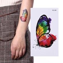 3D временная татуировка водостойкая хна тату подделка тату наклейка разноцветная бабочка тело искусство вспышка татуировка наклейки