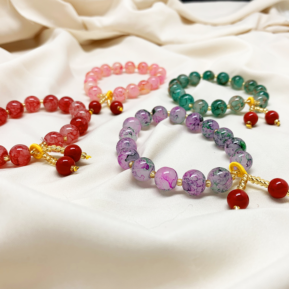 Beaded Bracelet Charm Fashion Jewelry Natural-Stone Handmade Round Multi-Colored Wholesale