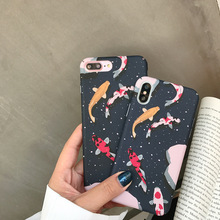 IMIDO For iPhone 7 Plus Case Japanese Style Fancy Carp Koi Fish Cases X XR XS Max 8 6 6S Full Hard Cover