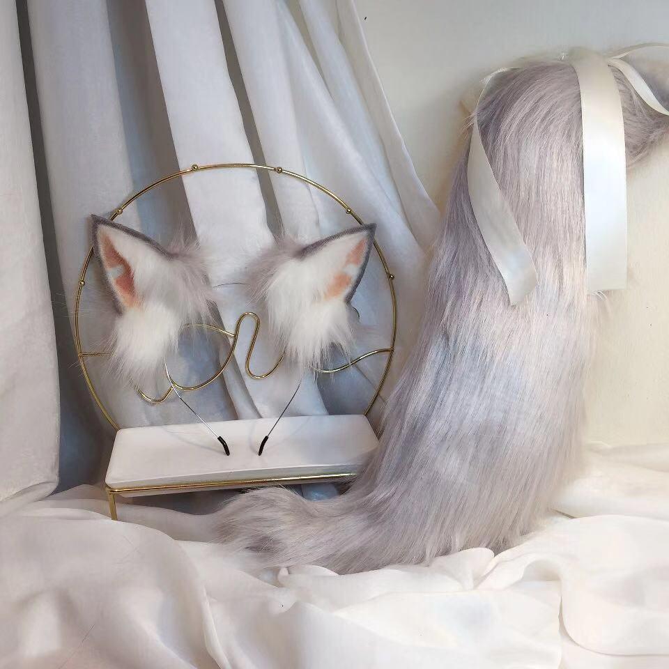 New Gray Wolf Anime Simulation Beast Ear Beast Tail Wolf Ear Cat Ear Fox Ear Custom COSPLAY
