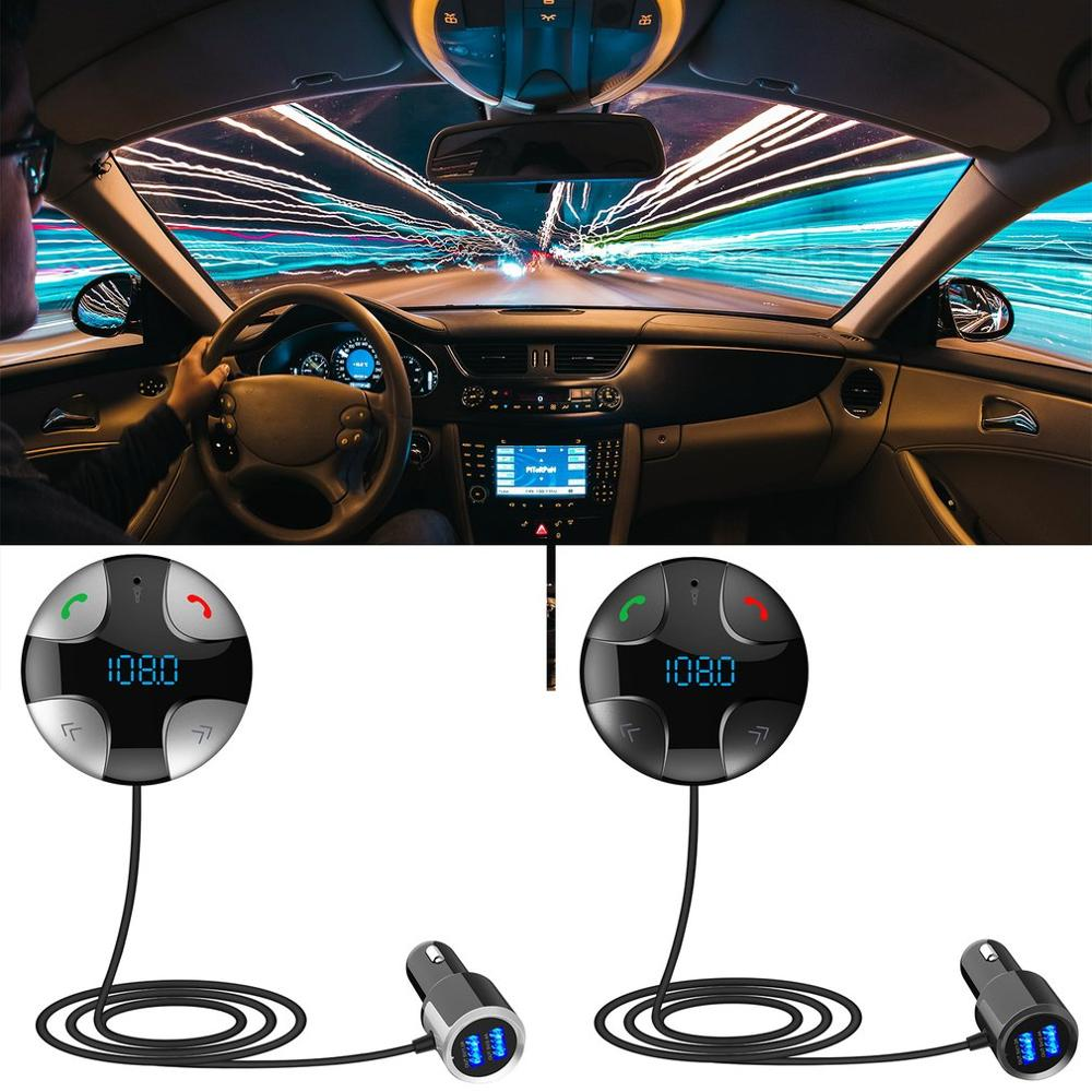 Car Line Audio Input Dual Usb Car Kit Lcd Sd Magnet Wired Handsfree Vehicle Fm Transmitter Mp3 Fm Player