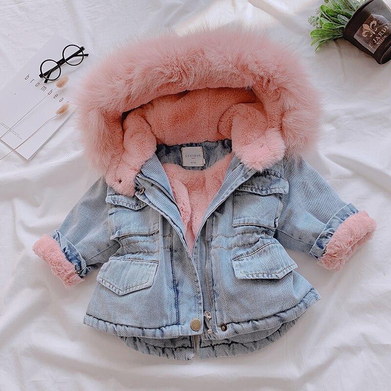 Baby Girls Winter Jackets Plus Velvet Thicken Warm Toddler Cowboy Outerwear For Infant Girl 0-6 Y Denim Coat Clj325