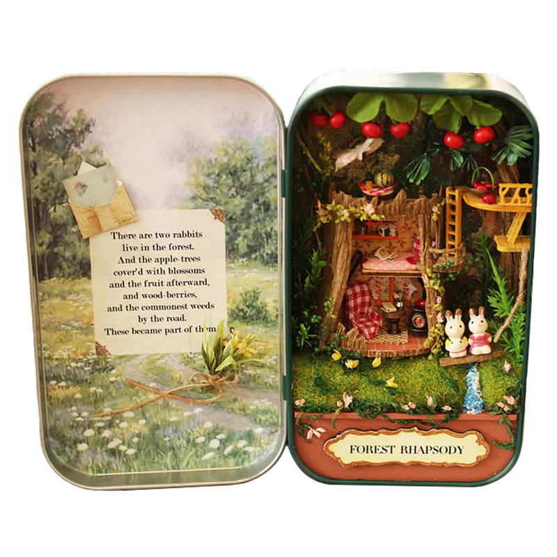Box Theatre Forest Rhapsody Doll House 3D Mini DIY Miniature Wooden Puzzle Dollhouse Furniture Decoration Toy For Birthday Gift