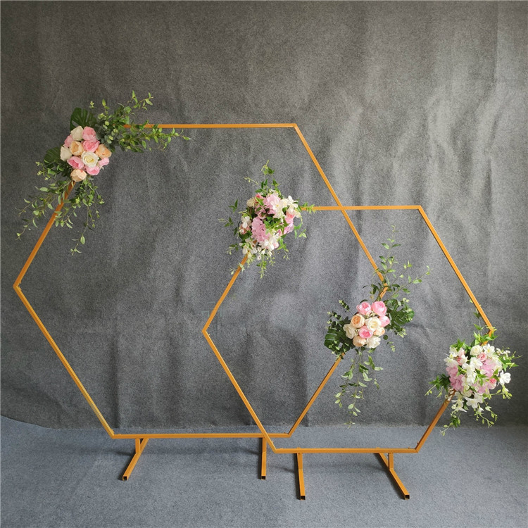 Hexagonal arch wedding diamond wrought Arch Party Decoration Background Wedding Props Single Arch Flower Outdoor Lawn Road Guide