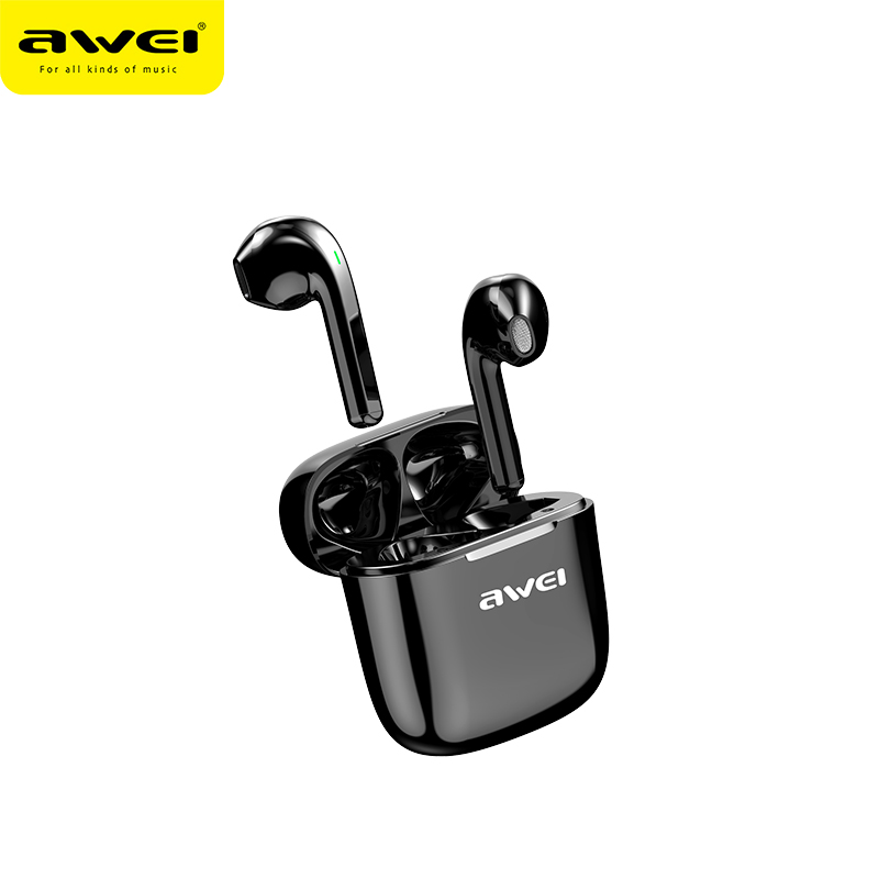 AWEI T26 <font><b>TWS</b></font> <font><b>Earbuds</b></font> Stereo Sound HiFi Bass Sound Touch Contorl Earphone Half in Ear 600mAh Charging Case With Dual Mic image
