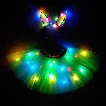 Светильник; детская одежда для девочек; блестящая юбка-пачка со звездами; Светодиодный; Праздничная юбка-пачка принцессы; фатиновая юбка-американка; детская балетная одежда; светодиодный танцевальный костюм