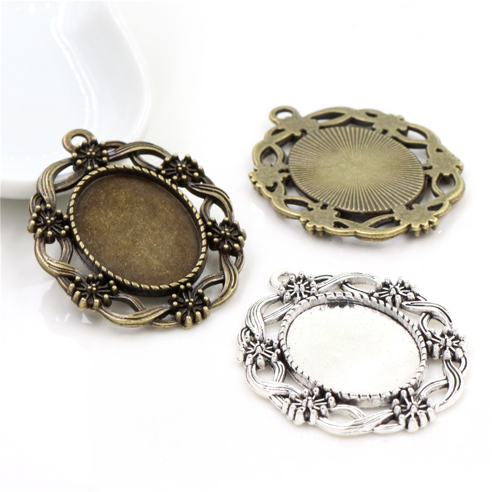 5pcs 18x25mm Inner Size Antique Silver Plated And Antique Bronze Fashion Flower Style Cameo Cabochon Base Setting Tray