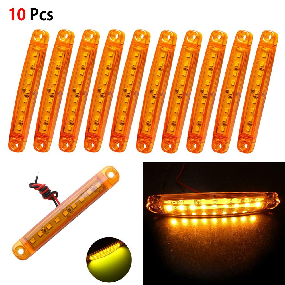 10pcs Amber 9-LED Bus/Truck/Trailer/Truck 24V LED Lights Side Marker Light Waterproof LED Light Tail Indicator Parking Light