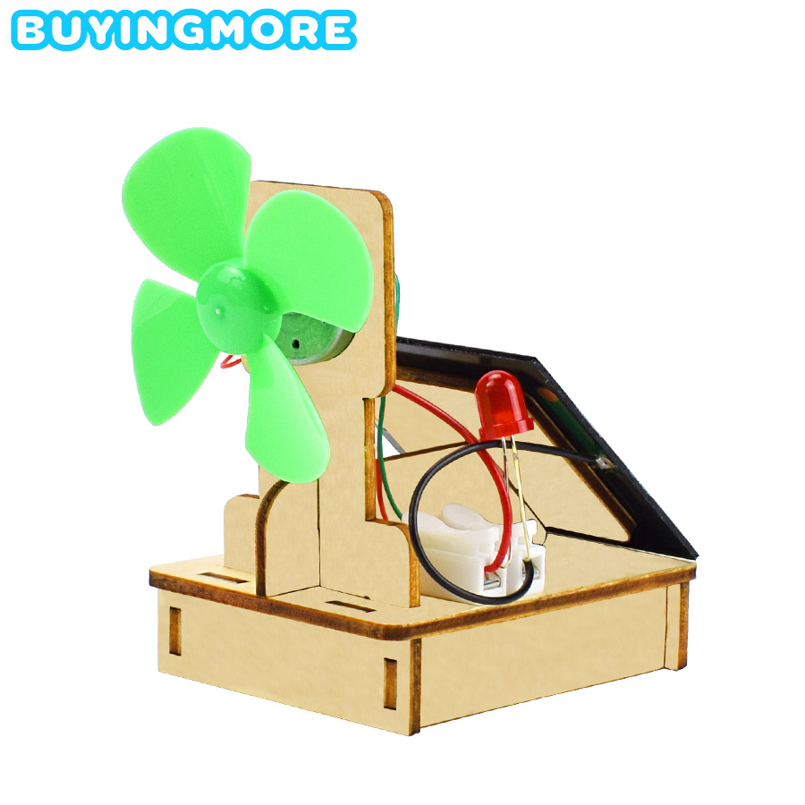 Solar And Wind Energy Powered Fan Model DIY Kit Science Toys For Children Hand-assembled Education Model Kit Wooden Toys Gift
