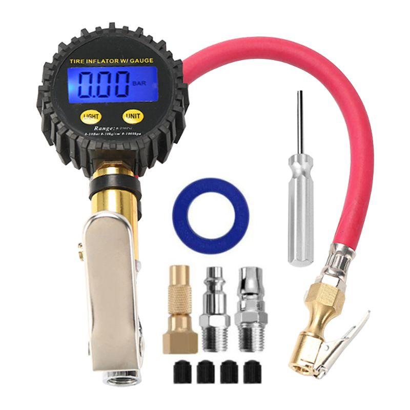 Motorcycle Bike Wheel Tire Pressure Gauge Cycling Pump Pedal Air Inflator Tool