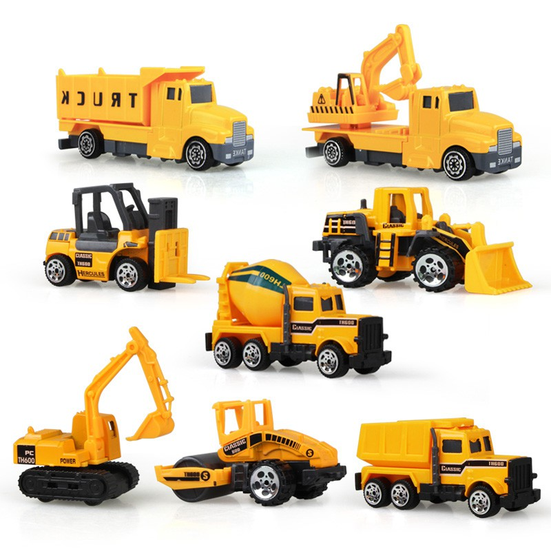 8pcs/set Mini Alloy Engineering Car Tractor Toy Dump Truck Classic Model  Vehicle Educational Toys For Boys Children