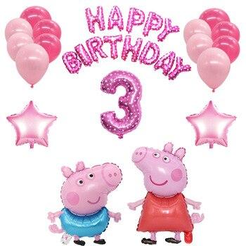 Свинка Пеппа воздушные шары ко дню рождения комплект игрушки фигурка шар свинки George Peppa вечерние номер Dcorations Фольга воздушные шары со Свинкой Пеппой; Подарок|Воздушные шары и аксессуары|   | АлиЭкспресс