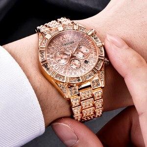 Reloj de lujo para hombre, correa de acero inoxidable famosa, reloj de pulsera de cuarzo de oro rosa, reloj de esfera grande de diamante, Masculino