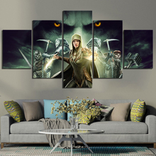 Fantasy Art HD Pictures Middle Earth Shadow of War Game Poster Artwork 5 Piece Canvas Paintings Wall for Home Decoration