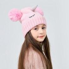 Beanies-Hat Unicorn Two-Balls Thick Winter Baby-Girl-Boy Kids Fashion Cartoon Children