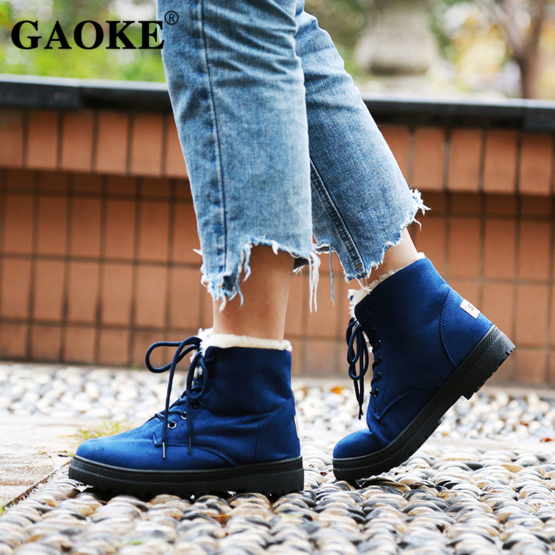 Woman Winter Shoes 2020 Woman Boots Lace Up Rubber Ankle Boots Woman Platform Rubber Boots Low Heels Winter Warm Snow Boots