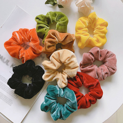 Winter Shiny Velvet Scrunchies Candy Color Soft Girls Hair Rope Hair Accessories Rubber Band Elastic Hair Bands Ponytail Holder