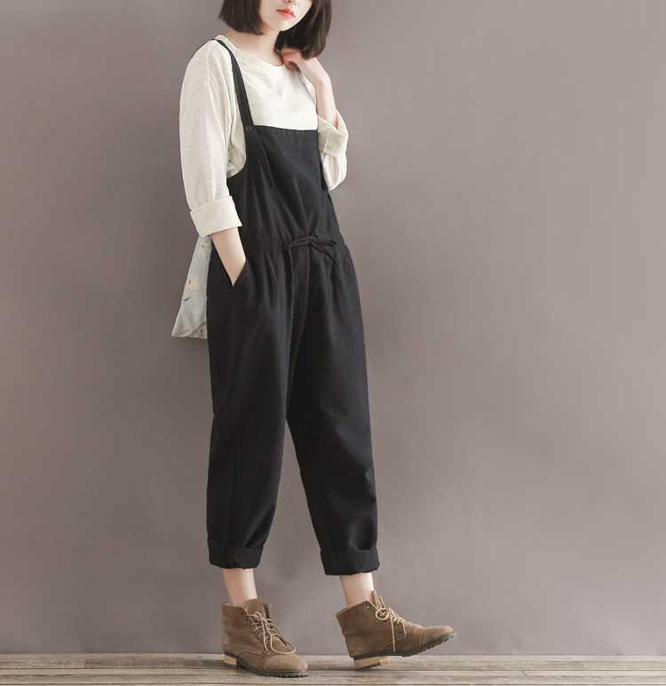 Повседневные Черные хлопковые льняные комбинезоны размера плюс, женские студенческие Узкие Широкие Гаремные комбинезоны, штаны, брюки, новая мода 2020
