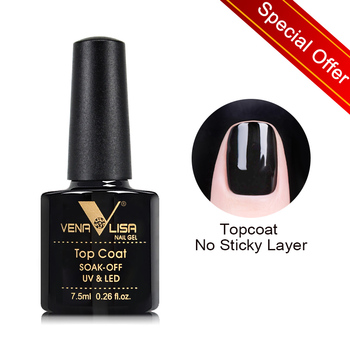 VENALISA Non Cleansing Topcoat CANNI Nail Art 7.5ml Soak off Base Coat Foundation without Sticky Layer No Wipe Top Coat Nail Gel 1