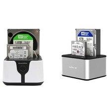 2-Bay SATA USB 3.0 SSD enclosure HDD case usb hdd enclosure External Hard Drive Docking  for 2.5/3.5inch HDD/SSD Offline Clone A